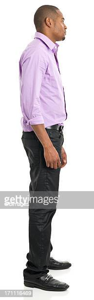 full length profile view of man - black trousers stock pictures, royalty-free photos & images
