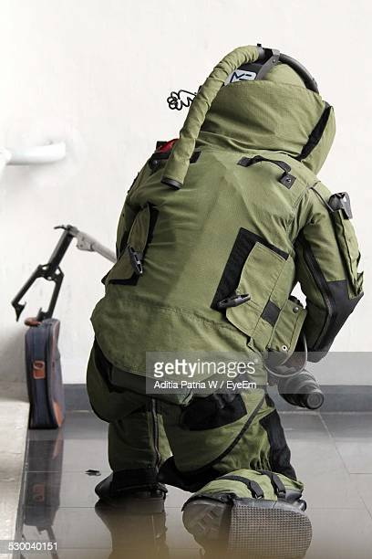 Full Length Rear View Of Soldier In Office
