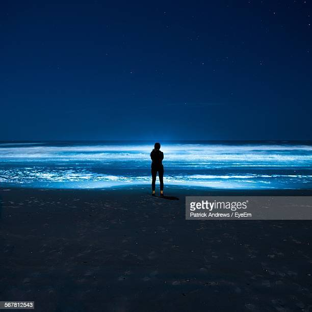 Full Length Rear View Of Woman Standing On Beach Against Clear Sky At Night