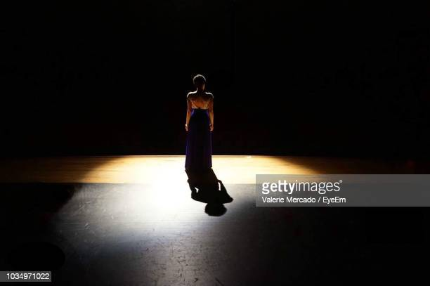 full length rear view of woman standing on illuminated stage - spotlit stock pictures, royalty-free photos & images