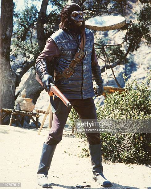 Full length shot of a gorilla soldier armed with a rifle in a publicity still issued for the US television series 'Planet of the Apes' USA 1974 The...