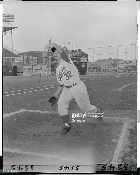 Full length shot of Koufax pitching at Ebbets Field
