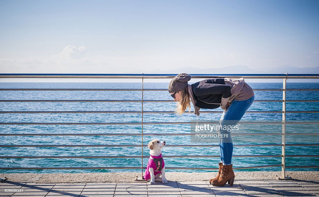 Full length side view of young woman by railings in front of ocean bending over looking at dog : Stock Photo