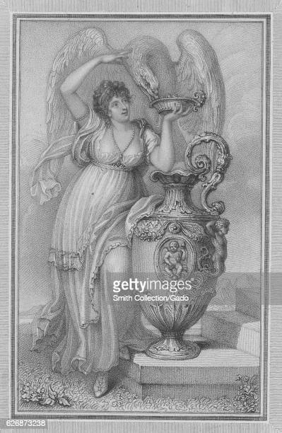 Full length standing portrait of Anna Maria Russell Duchess of Bedford who served as the Lady of the Bedchamber for Queen Victoria feeding a large...