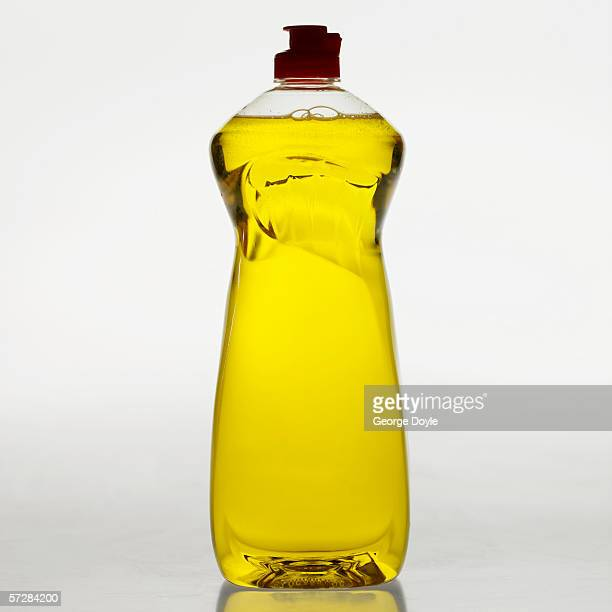 Full length view of washing up liquid bottle
