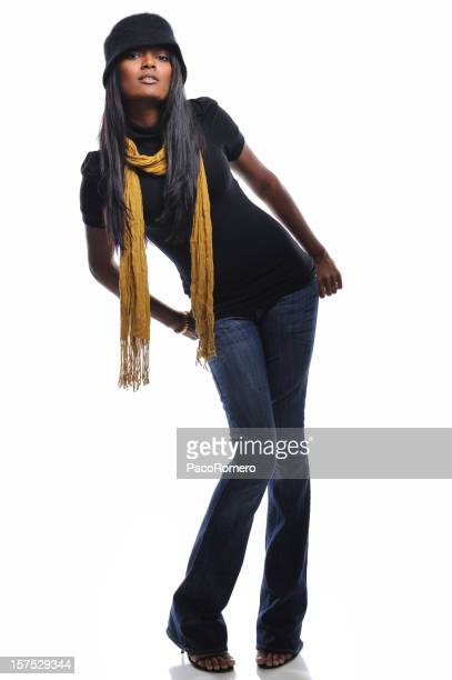 Full length young woman with scarf