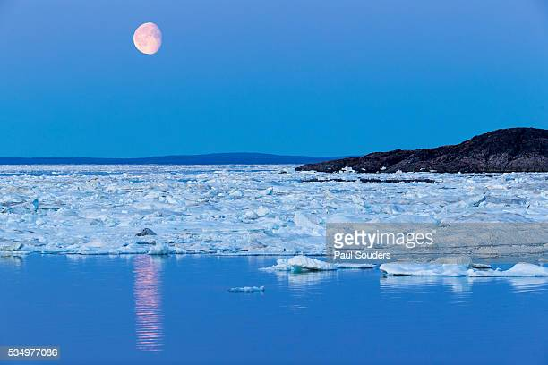 full moon and melting sea ice, repulse bay, nunavut territory, canada - pack ice stock pictures, royalty-free photos & images