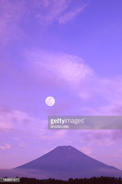 Full moon and Mount Fuji, Yamanashi Prefecture
