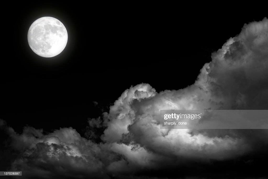 XL full moon and storm clouds : Stock Photo