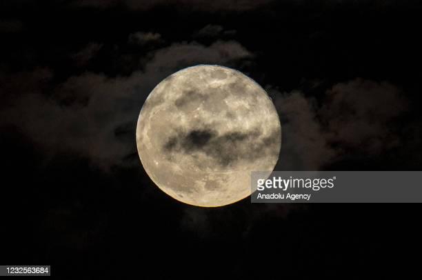 Full moon appears in Ankara, Turkey on April 27, 2021.