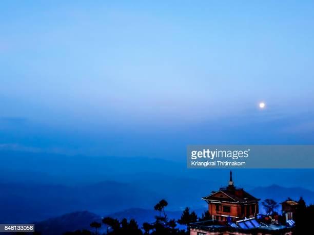 Full moon at Nagarkot village in Nepal.