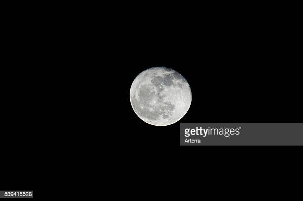 Full moon at night only natural satellite of the Earth