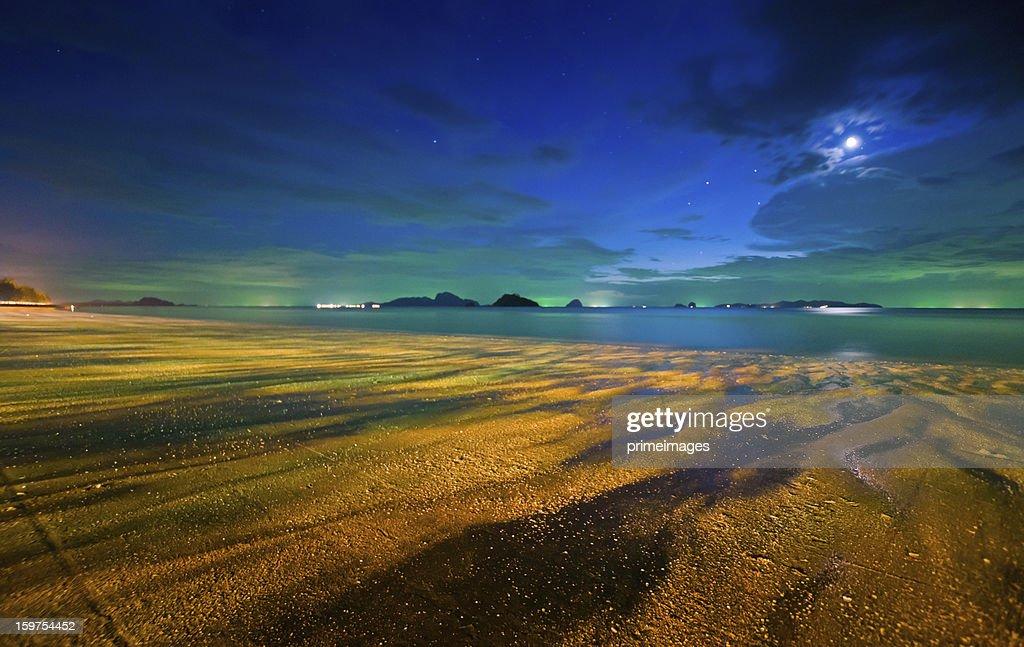 満月の夜には、トロピカルビーチ : ストックフォト