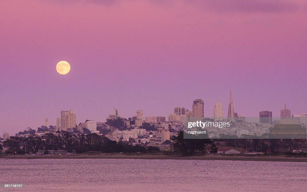 Full moon at San Francisco city : Stock Photo