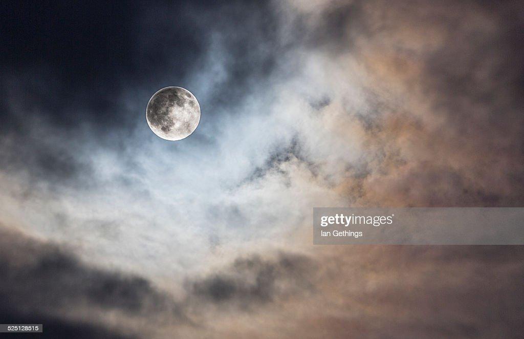 Full moon at sunset : Stock Photo
