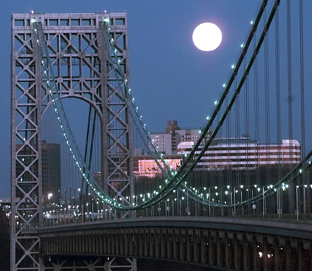 Full moon behind the George Washington Bridge.