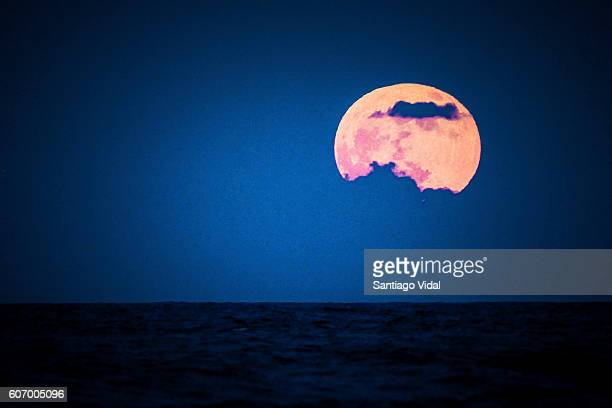 Full moon is seen over Punta Cana on September 16 2016 in Dominican Republic Punta Cana