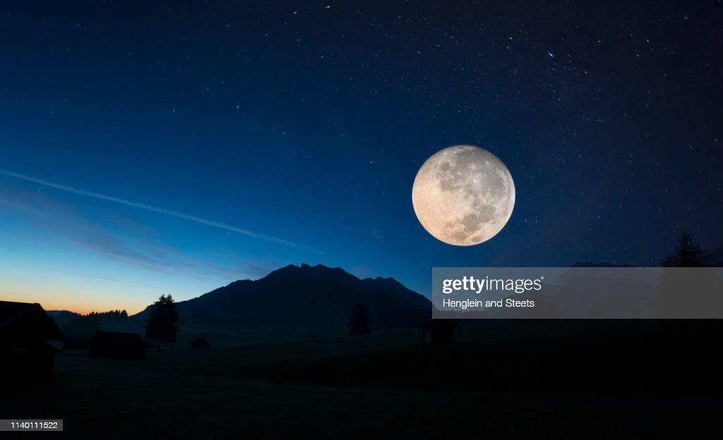 Full moon, Karwendel, Bavaria, Germany : Stock Photo