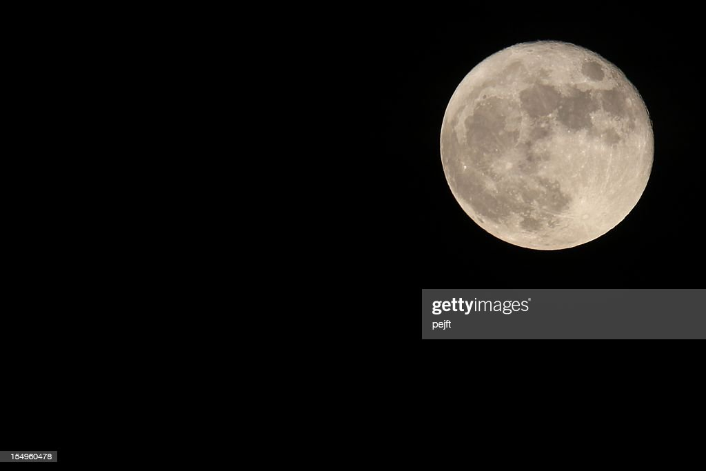 Full moon on dark sky background : Stock Photo