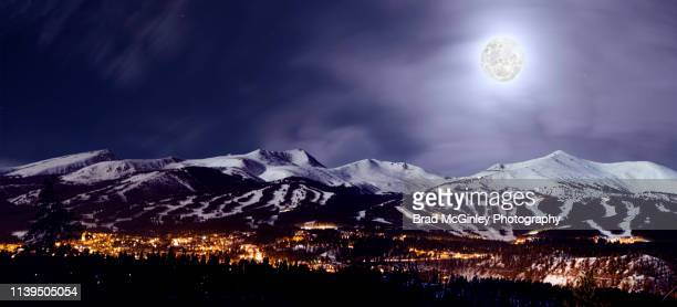 full moon over breckenridge - snow moon stock pictures, royalty-free photos & images