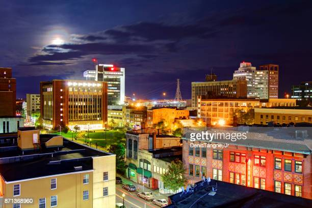 full moon over bridgeport, connecticut - connecticut stock pictures, royalty-free photos & images