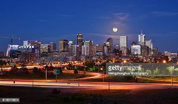 Full Moon over Denver Downtown