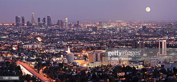 Full Moon over Los Angeles City Skyline at Night