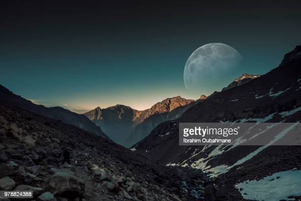 Full moon over mountains, Toubkal, Morocco
