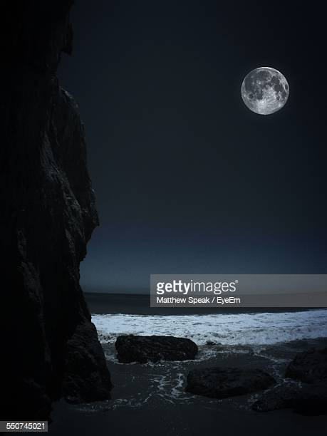 Full Moon Over Sea At Night