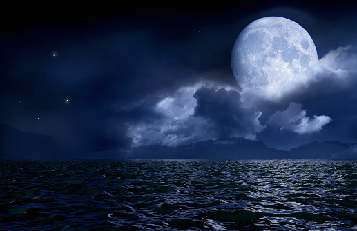 Full moon over seascape and horizon - gettyimageskorea