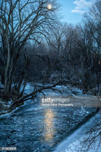 Full moon over Squaw creek, Ames, Iowa