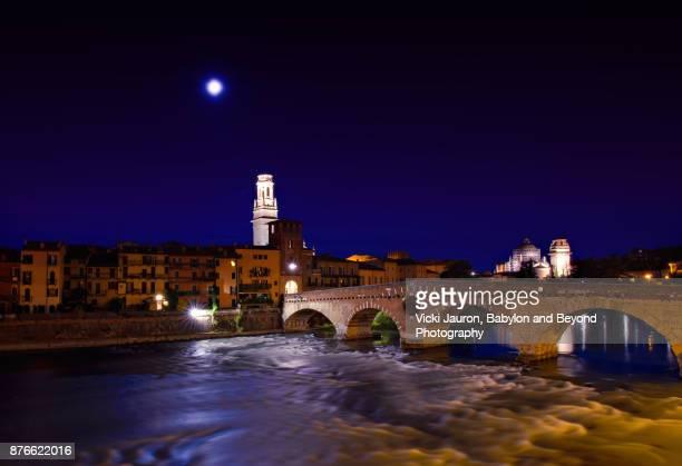 Full Moon Over the Ponte Pietra in Verona Italy