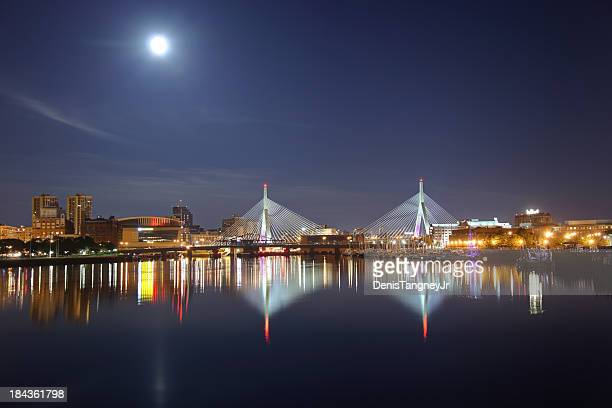 full moon over the zakim bridge in boston, massachusetts - boston skyline stock pictures, royalty-free photos & images