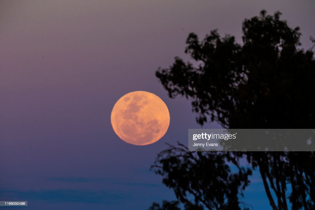 A full moon rises on August 15, 2019 in Balranald, Australia