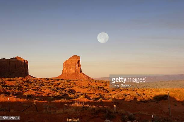 Full moon rises over Monument Valley Navajo Tribal Park.