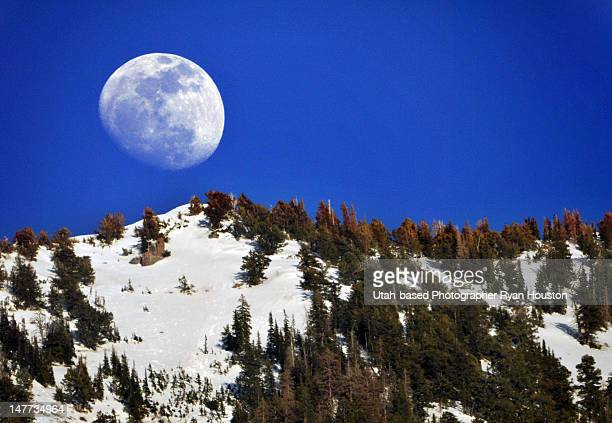 Full moon rising above Provo Canyon
