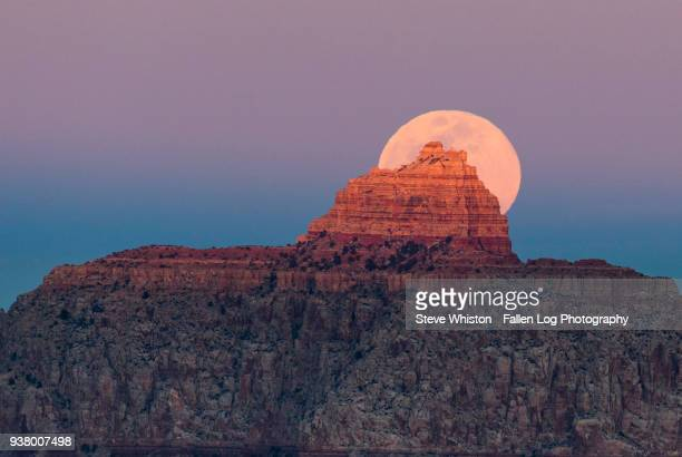 Full Moon Rising Behind Vishnu Temple in Grand Canyon