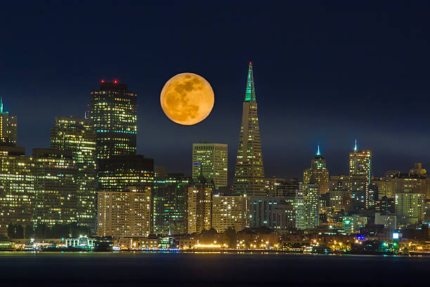 Full moon San Francisco skyline