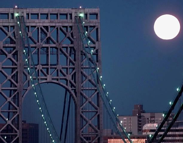 Full moon sets behind the George Washington Bridge.