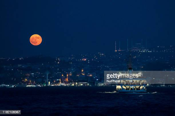 Full moon that appeared in Istanbul in the evening created a beautiful image on November 12 2019