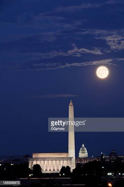 full moon with washington dc landmarks - ogphoto stock pictures, royalty-free photos & images