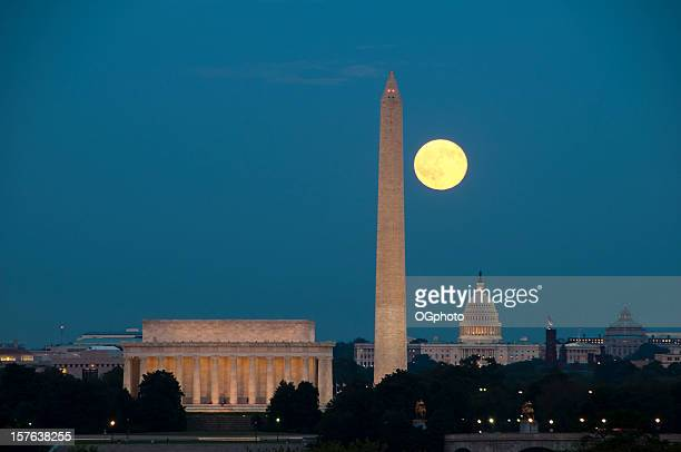 full moon with washington dc landmarks - ogphoto stock photos and pictures
