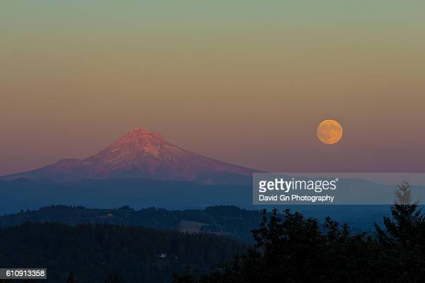 Full Moonrise over Mount Hood Oregon