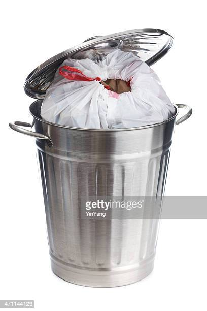 full overflow garbage can with plastic bag on white background - garbage can stock photos and pictures
