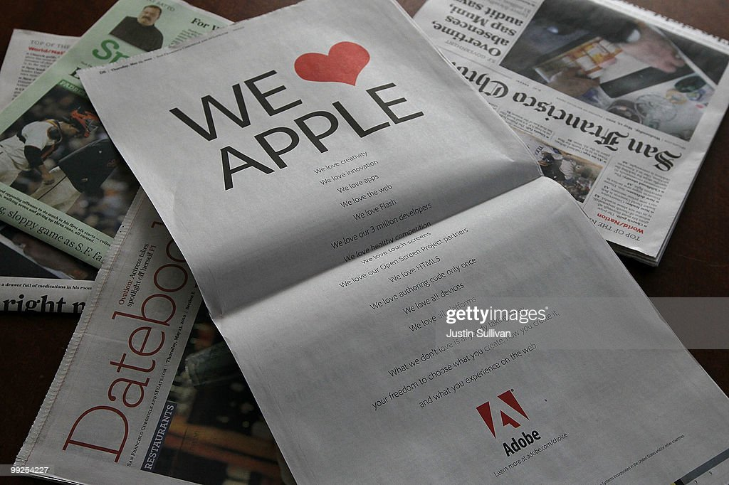Adobe Takes Out Ad Aimed At Apple Not Allowing Flash On Its Phones, iPads : News Photo