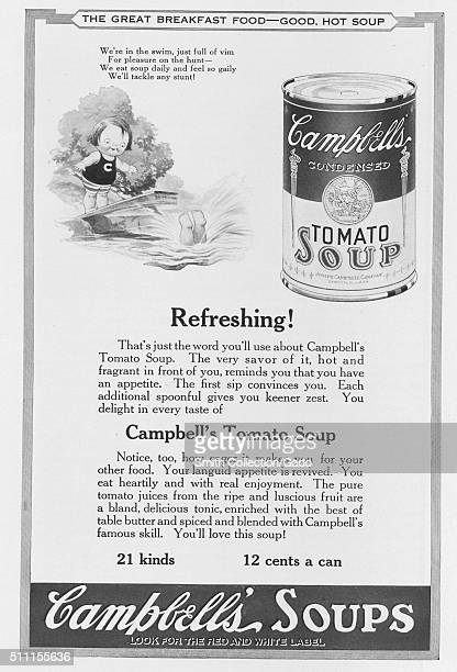 Full page advertisement for Campbell's Condensed Tomato Soup, featuring a drawing of a child diving into the water and a little girl watching, with...