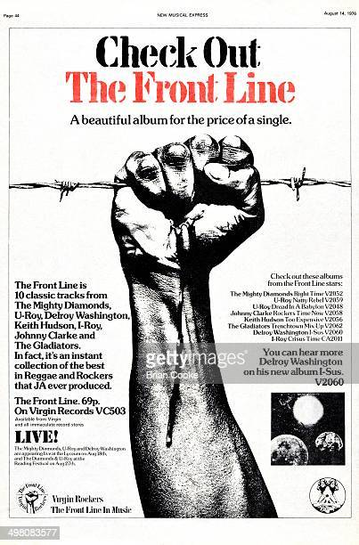 Full page advertisement for Virgin Records' reggae sampler album The Front Line published in the New Musical Express on 14th August 1976 Photography...