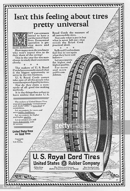 A full page advertisement in a magazine for US Royal Cord tires from United States Rubber Company the company was one of the original twelve...