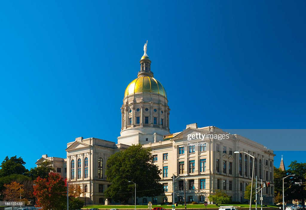 A full photo of the Georgia State Capitol Building : Stock Photo