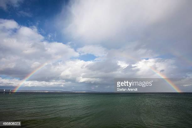 Full rainbow over Lake Constance, near Guttingen, Canton of Thurgau, Switzerland